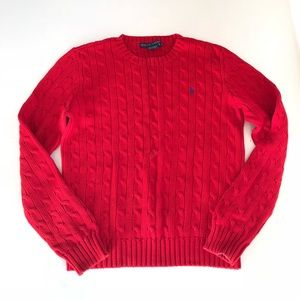 Ralph Lauren Red Long Sleeve Cable Knit Sweater